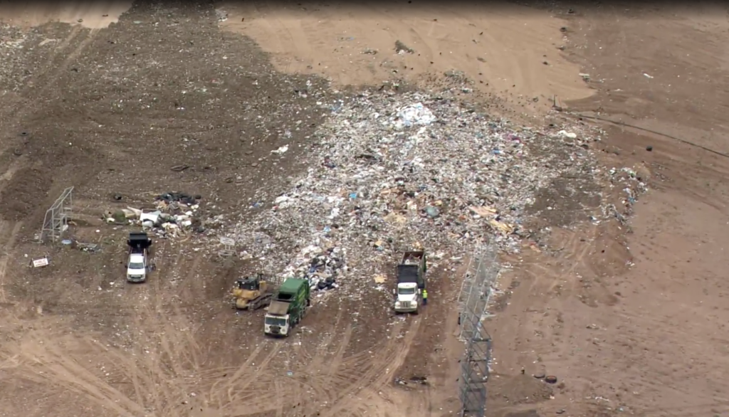 aerial shot from Channel 13 news KRQE Coverage of Toxic Salt Dump into Rio Rancho Landfill
